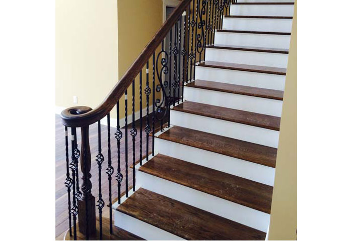 Wood Staircase & Metal Railing