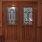 Red Oak Exterior Doors with Glass Paneling